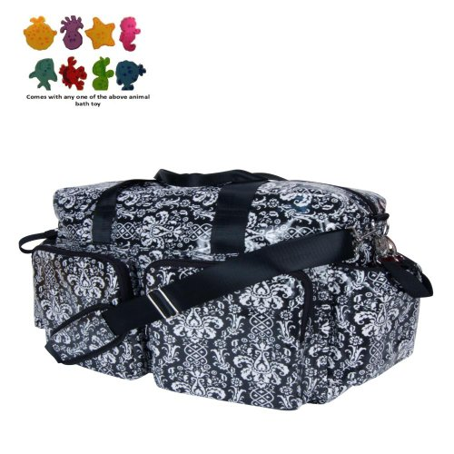 Diaper Bag - Midnight Fleur Damask Deluxe Duffle & Purchasecorner Toy Bundle front-238010