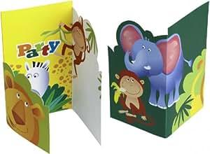 6 Cartes Invitation Safari - Anniversaire Enfant - Goûter enfant