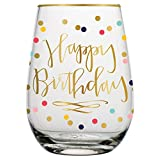 Birthday Wine Glass - 20 oz Happy Birthday Stemless Wine Glass with Gold Rim (Multicolor Confetti, Perfect Birthday Gift)