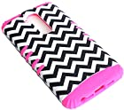 myLife Classic Black and White + Rose Pink Anchor and Chevron Pattern {Armor Design} 3 Piece Neo Hybrid Case for the for the LG G2 Smartphone (External Rubberized Snap On Hard Safe Shell Piece + Internal Soft Silicone Flexible Bumper Gel)