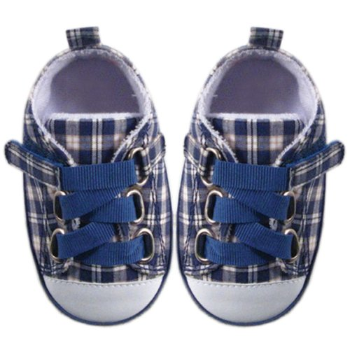 Luvable Friends Plaid Sneaker for Baby, Blue, 6-12 Months