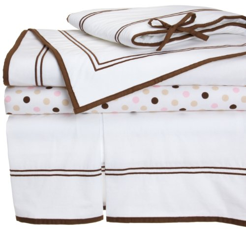 Pinzon Combed Cotton 200TC Percale Hotel Stitching Crib Set, Chocolate with Pink Dot