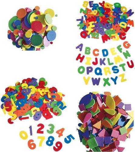 BUSDUGA – Moosgummi Bastelset 680 Teile- Buchstaben , Zahlen , Formen und Kreise – PREISVORTEIL kaufen