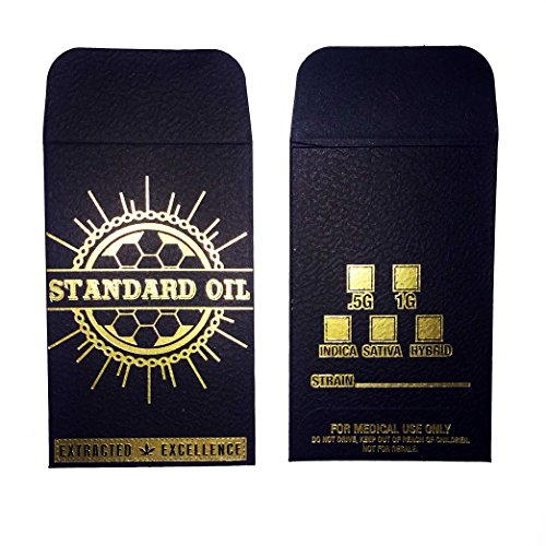 Original Black Gold Standard Oil Wax Extract Coin Foil Textured Envelopes 2.25