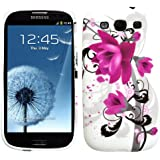 "Slabo Silikon Schutzhülle Hülle Case TPU für Samsung Galaxy S3 I9300 - ""Blumen Schmetterling Herzen | Flower Butterfly Heart"" - LILA WHITE|ROSA WEIß"
