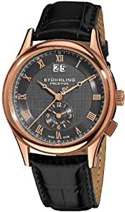 Stuhrling Prestige Men's 364.334554 Prestige Swiss Made Laureate Quartz Dual Time Rose Tone Watch