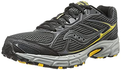 Saucony Men's Cohesion TR7 Trail Running Shoe,Black/Grey/Yellow,7 M US