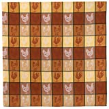 "100% Cotton Brown & Yellow 54""x90"" Tablecloth - Chicken Coop"
