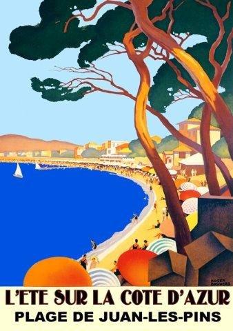 """L'Ete Sur La Cote D'Azur Plage De Juan Les Pins Beach Sea Ocean Sailboat France French 16"""" X 22"""" Image Size Vintage Travel Poster Reproduction. See The Companion Piece: Bandol"""