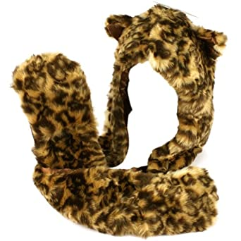 Adult Winter Faux Fake Animal Fur Scarf Trapper Hat w Paw Gloves Mittens Leopard