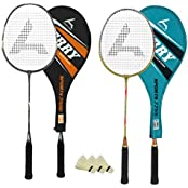 Guru Jerry BR05COMBO-03 Badminton Racket Set Pack Of Two With Two Cover & 3 Shuttlecock Size: 27 Inch