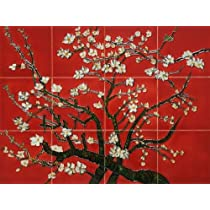Hand Painted Canvas Art: Branches of an Almond Tree (Red) Mural Wall Tiles - Tile 18