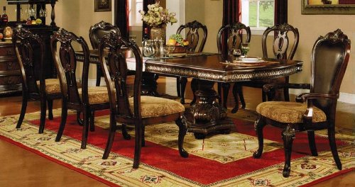 9Pc Formal Dining Table & Chairs Set With Carved Details In Cherry Finish
