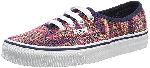 Vans Authentic, Unisex Adults' Low-Top Sneakers, Multicolour (Woven Chevron - Pink/True White), 2.5 UK (34 1/2 EU)