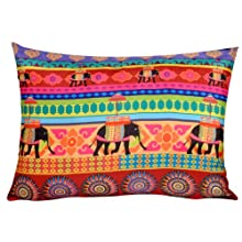 TEC Temple Elephant Cushion Covers 14x19 - Green