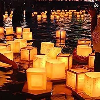 Aketek 20 Pack Square Chinese Lanterns Wishing, Praying, Floating, River Paper Candle Light