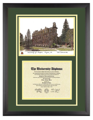 University Of Oregon Diploma Frame With Artwork In Classic Black Frame