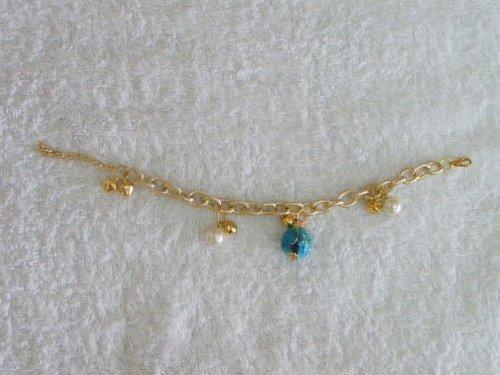 Thai Gold Bracelet- Ornate Ball and Pearl Design