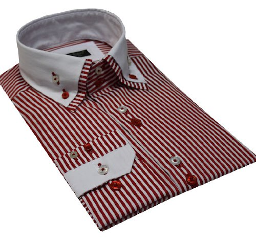 Italian Design Men Formal Casual Shirts Double Collar Button Down Red Stripe
