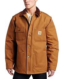 Carhartt Men\'s Duck Chore Coat Blanket Lined C001,Brown,Small
