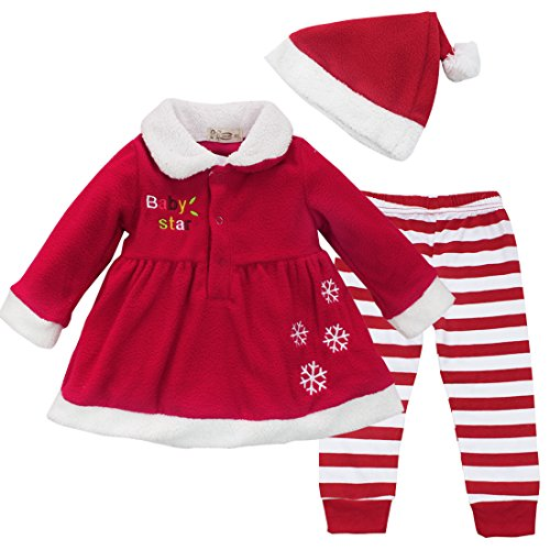 Iiniim Baby Girl Christmas Xmas Dress Top + Striped Pants + Hat 3Pcs Outfit Set (12-18 Months)
