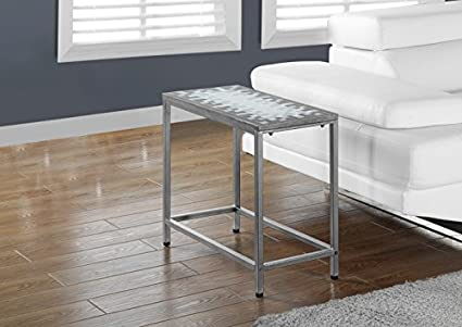 GREY / BLUE TILE TOP / HAMMERED SILVER ACCENT SIDE TABLE (SIZE: 24L X 12W X 22H)