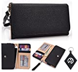 Motorola Photon Q 4G LTE XT897 Wallet Wristlet Clutch with Coin Money Zipper Pocket and Three ID Credit Card Compartments. Includes one Detachable Wrist Strap. Color: Black + NuVur ™ Keychain (ESMLMTKK)