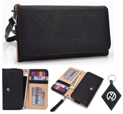 Huawei Ascend (Fits Most Huawei Ascend Including: D Quad, D Quad Xl, D1, D1 Xl ) Wallet Wristlet Clutch With Coin Money Zipper Pocket And Three Id Credit Card Compartments. Includes One Detachable Wrist Strap. Color: Black + Nuvur ™ Keychain (Esmlmtkk)