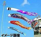 【全部フルセット】3m大空鯉:金箔ドビー織り撥水加工鯉のぼり庭園用アルミポール付フルセット[お庭用アルミポール付]