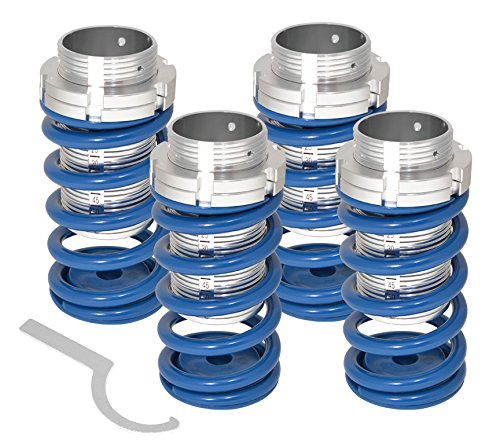Fits Sentra Eclipse Corolla Tercel Adjustable Suspension Lowering Spring Coilover Coil Over Aluminum Scaled Slevves JDM VIP 4 Piece Sport Street Track Racing Drifting Kit Set Blue Polished (Tercel Coil Spring compare prices)