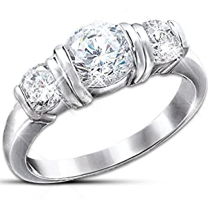 Majestic Sterling Silver And Round Cubic Zirconia 3 Stone Ring: Romantic Jewelry Gift by The Bradford Exchange