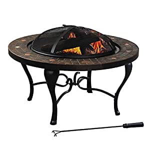 Sunjoy l ft521pst 3a 35 steel and slate fire for Amazon prime fire pit