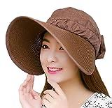 MAMiO レディース サンバイザー シンプル な デザイン くるくる 丸めて たためる つば広帽子 (ブラウン)