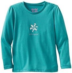 Life is Good Girl\'s Sleep Long Sleeve Tee, Snowflake, Teal, XX-Small
