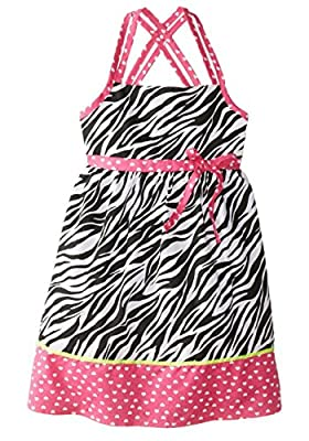 Pinky Pink Little Girls' Printed Zebra Dress with Contrast