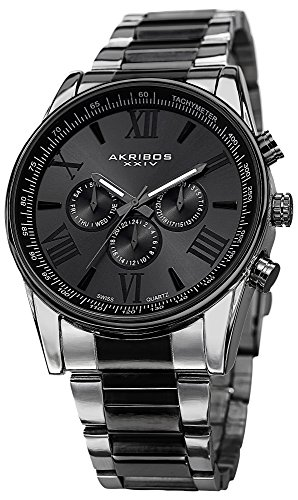 Akribos XXIV Akribos XXIV Men's AK736TTB Ultimate Swiss Multifunction Silver-tone and Black Stainless Steel Bracelet Watch