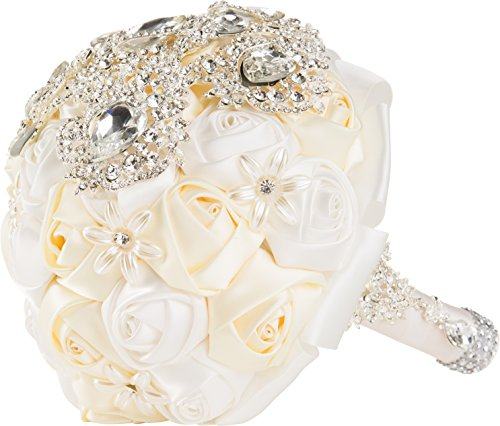 Crystal And White Wedding Theme: White And Ivory Silk Rose Wedding Bouquet With Crystal