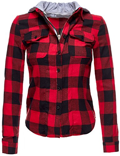 Buffalo Plaid Flannel Hoodie Button Down Shirts.,045-Red_Black,US M (Red And Black Hooded Flannel compare prices)