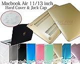 Macbook Air 11/13インチ ハードカバー&ジャック/ポートキャップセット 9カラー (11インチ用, シャンパンゴールド)