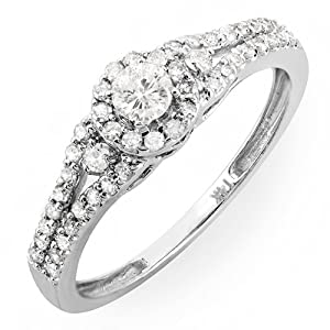 14k White Gold Round Cut Diamond Ladies Engagement Bridal Ring (0.55 cttw, F-G-H Color, SI- I Clarity)