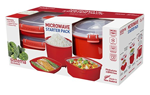 Sistema 1130 Microwave Cookware Starter Pack Includes Plate Steamer and Rice Steamer, Red (Sistema Medium Microwave Plate compare prices)