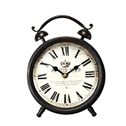 Adeco Paris 1925 Old World-Inspired Brown Iron Alarm Clock Style Wall Hanging or Table Top Clock with Roman Numerals