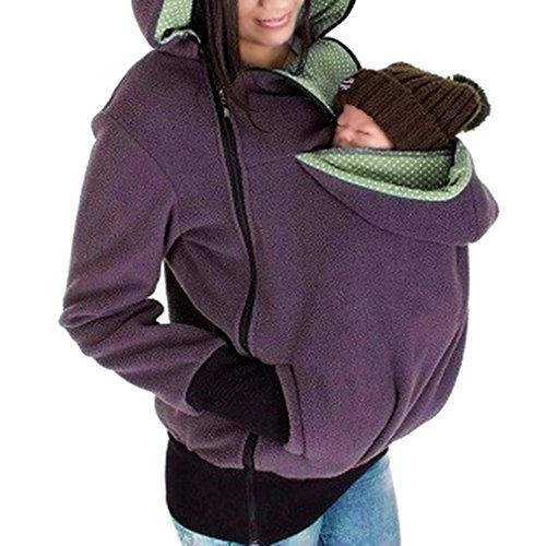 AIYUE Felpa Canguro Porta Bebè Donna Maglione per Maternità del Portare Neonato Bambino Cappuccio Pile Tessuto Caldo