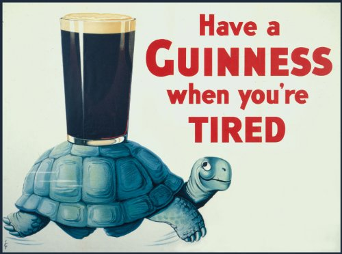 c1936 Vintage GUINNESS Have a Guinness when you're tired 250gsm Gloss ART CARD A3 Reproduction Poster