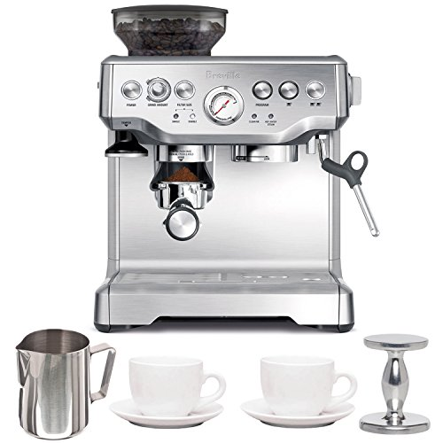 Breville BES870XL Barista Express Espresso Machine with Espresso Tamper, Frothing Pitcher & Two Tiara Cup and Saucers (Espresso Tamper Breville compare prices)