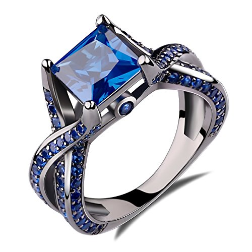 2.0ct Princess Cut Created Blue Sapphire Engagement Ring 14k Black Gold Rhodium Plating Over Sterling Silver 925 Ring Size 5