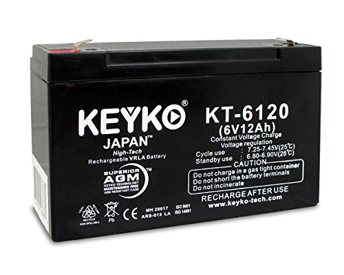 Gyneco 138 Thermal Cautery System Replacement Rechargeable Battery SLA 6V 12Ah Genuine KEYKO ® (W/F1 Terminal) (Thermal Cautery compare prices)