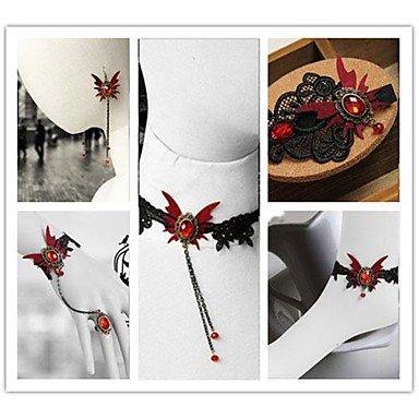 [Vampire Aristocrat Red Butterfly Gothic Lolita Accessories] (Aristocrat Halloween Costume)