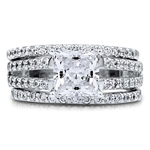 Princess Cubic Zirconia CZ Sterling Silver 3Pc Bridal Ring Set 1.96 Ct - Nickel Free Engagement Wedding Ring Set Size 5