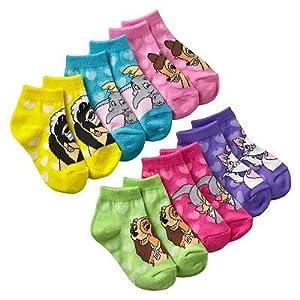 Disney Multi-Character Toddler Girl's 1/4-Crew Socks 6 Pair-6 Designs Size: 2T-4T